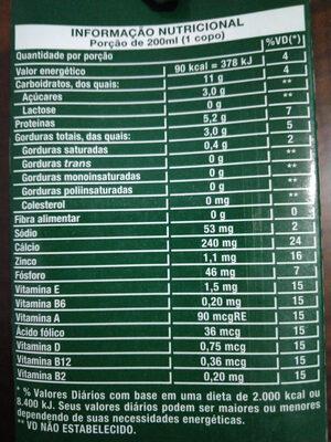 Leite de soja - Informação nutricional