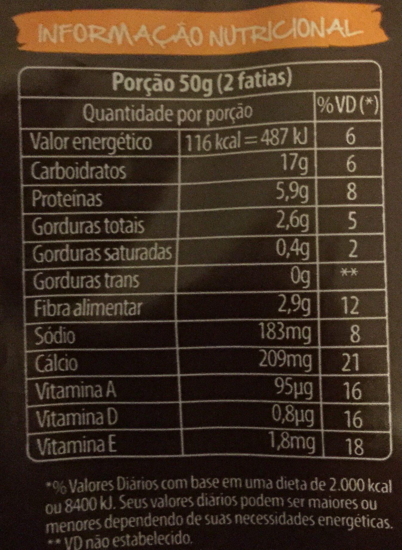 Pão De Forma Nutrella Integral 7 Grãos 400G - Informação nutricional - pt