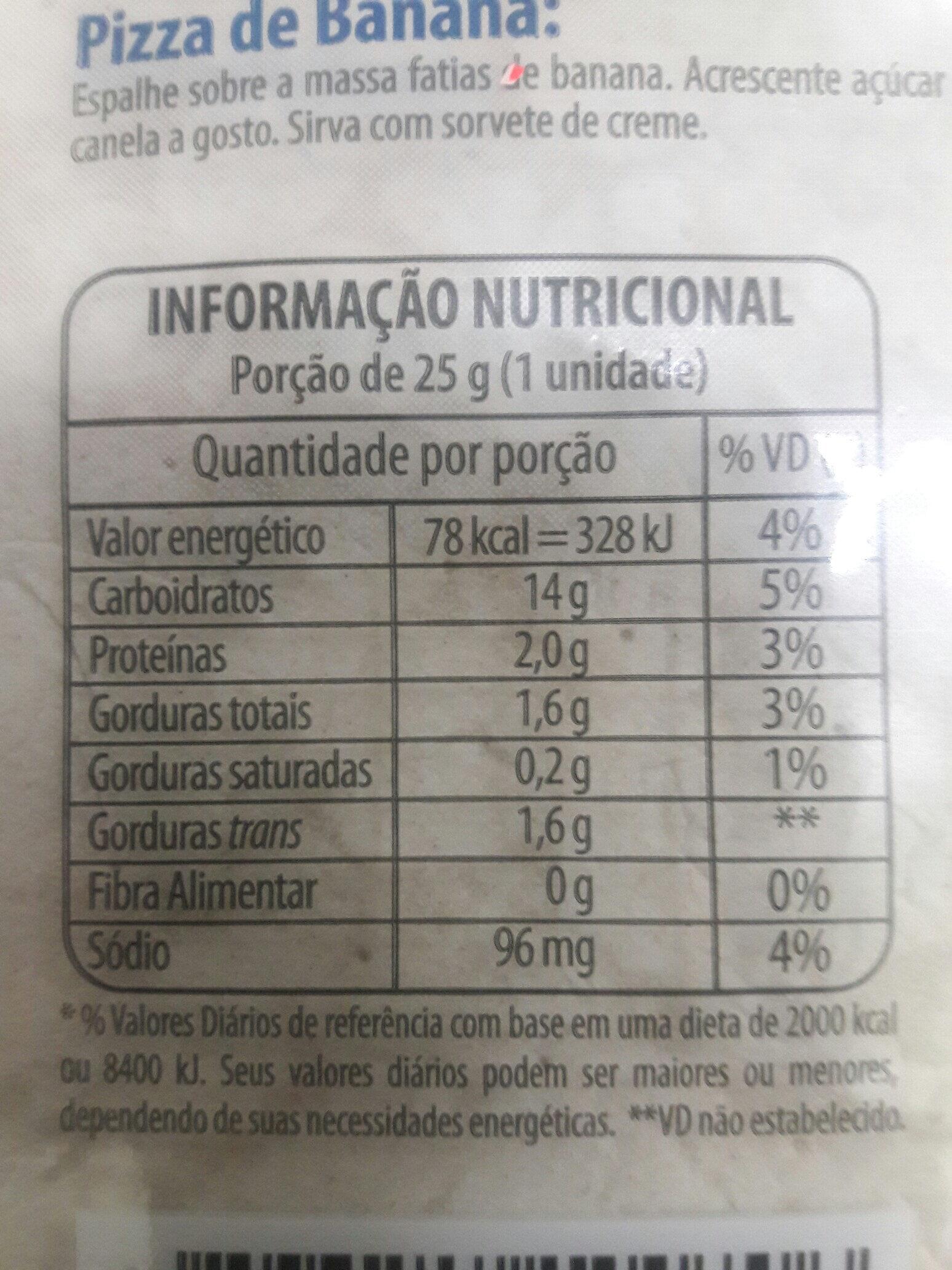 Pizza de Frigideira - Informations nutritionnelles