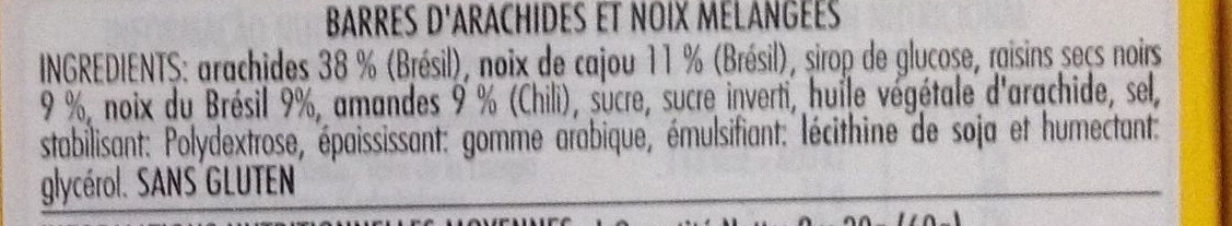 Barra de mixed nuts original - Ingredientes - fr