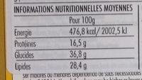 Barra de mixed nuts original - Informação nutricional - fr