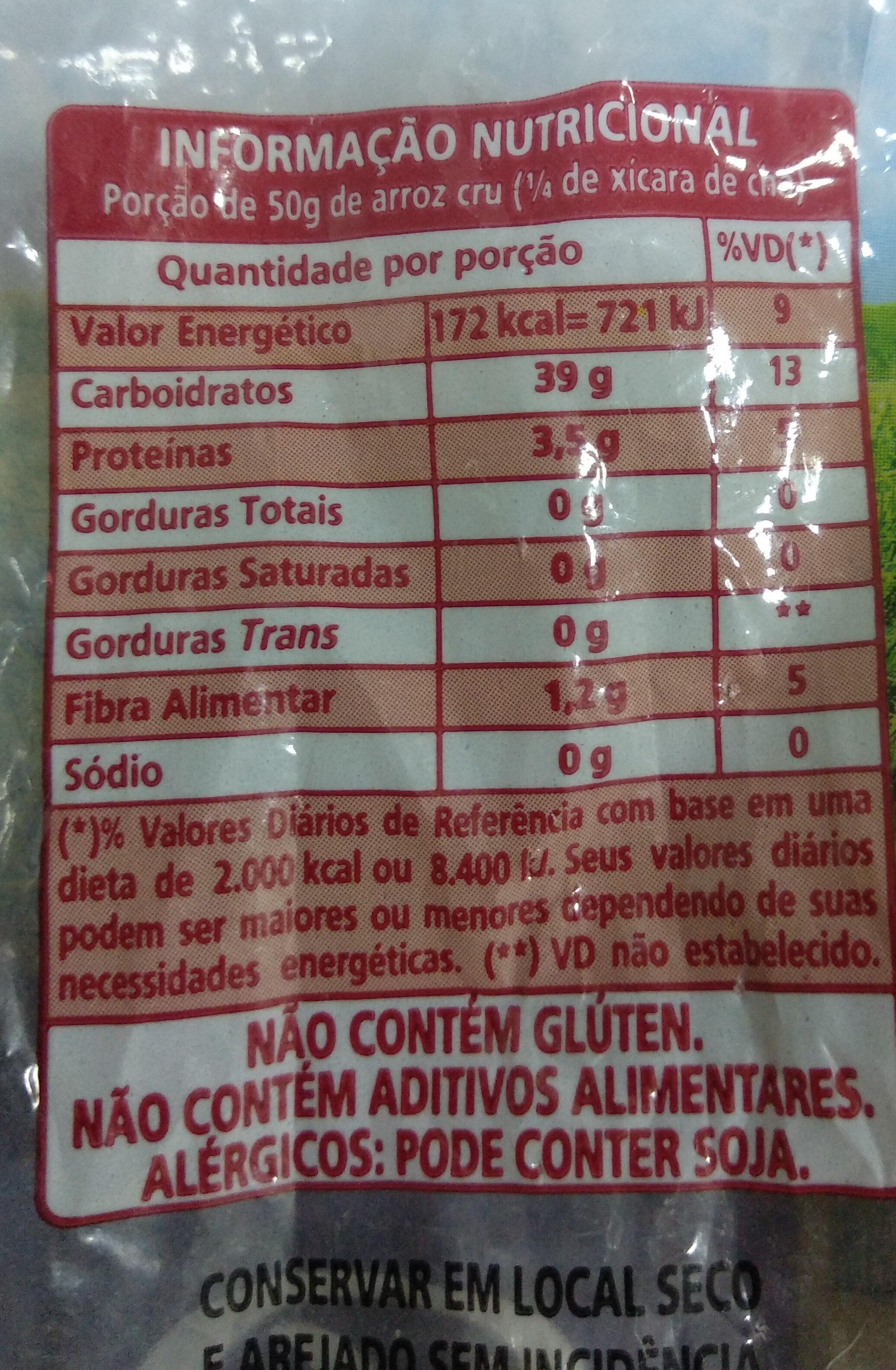 Arroz Prato Fino - Informação nutricional - pt