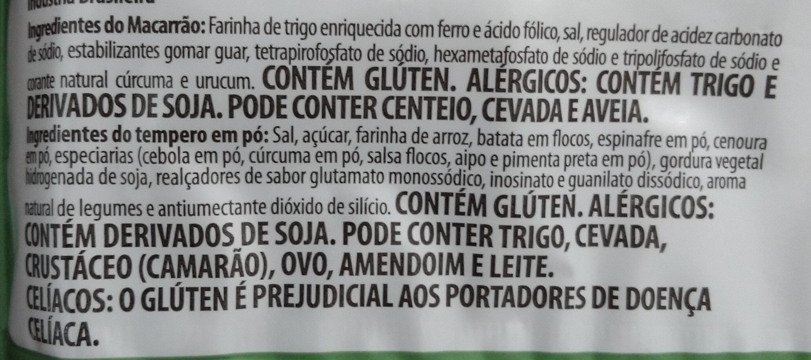 Lámen sabor Legumes - Ingrédients - pt