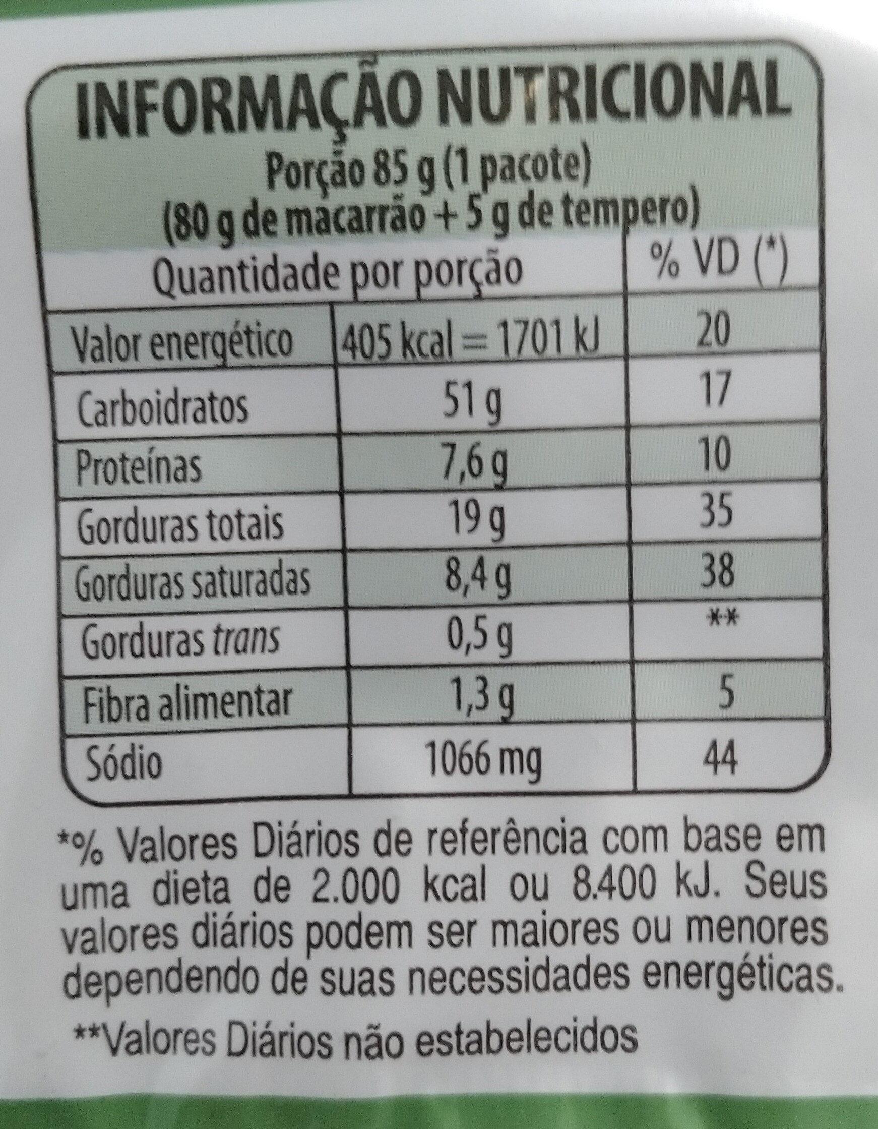 Lámen sabor Legumes - Informations nutritionnelles - pt