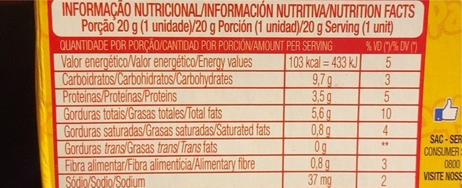 Paçoquita 3,84 GR. - Informação nutricional - fr