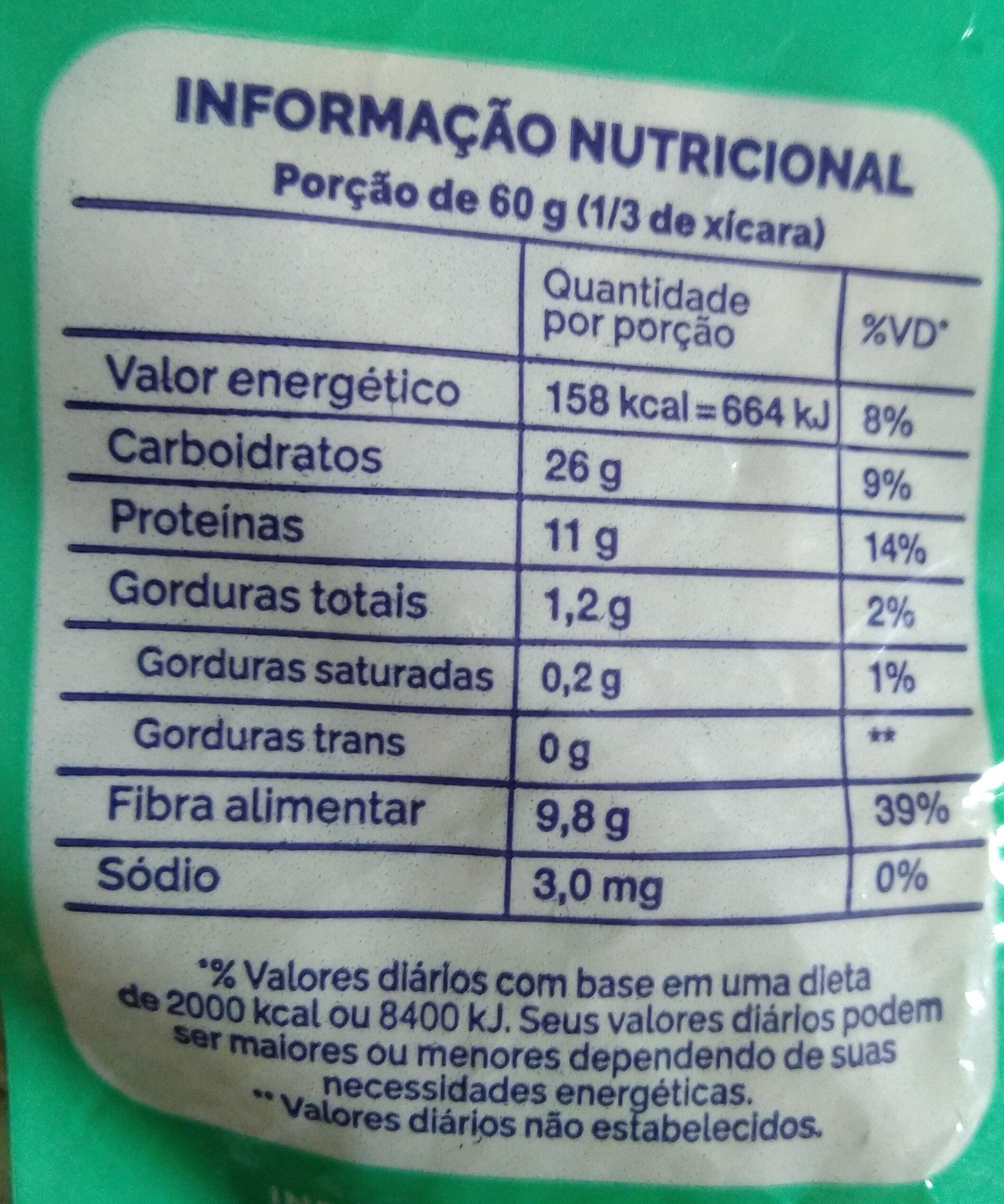 Feijão carioca - Informação nutricional - pt