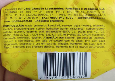phebo sabonete - Ingrediënten