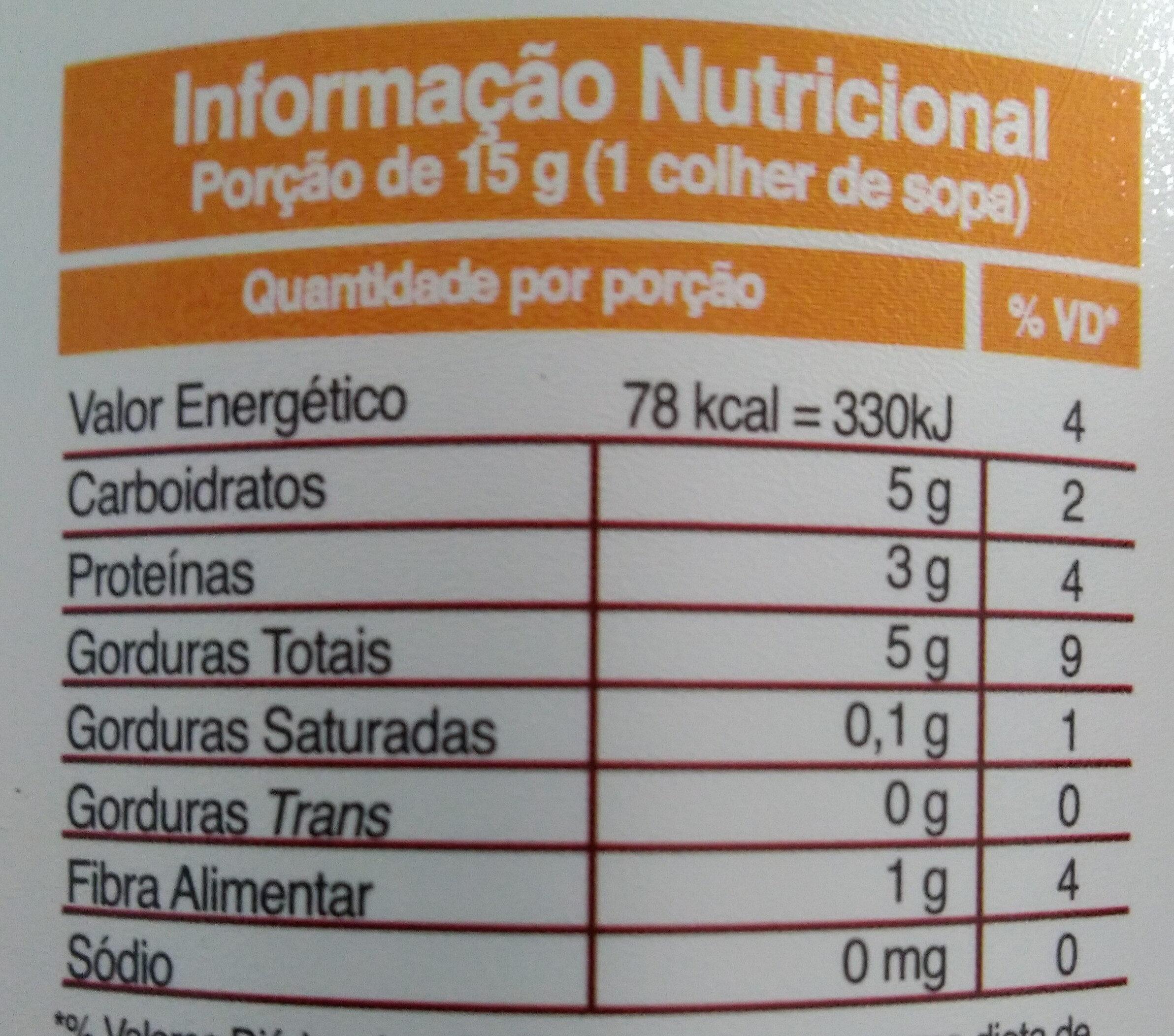 Pasta de amendoim integral com cacau - Informação nutricional - pt