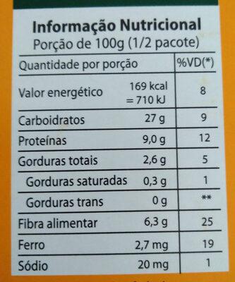 Grão de bico cozido no vapor - Informação nutricional - pt
