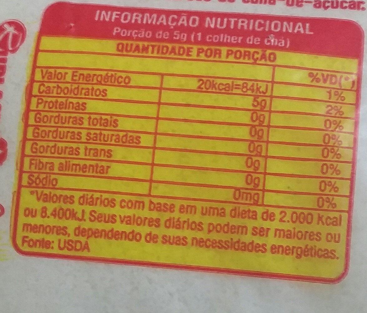 açúcar alegre - Informação nutricional - pt