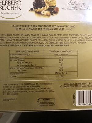 Ferrero rocher - Informations nutritionnelles