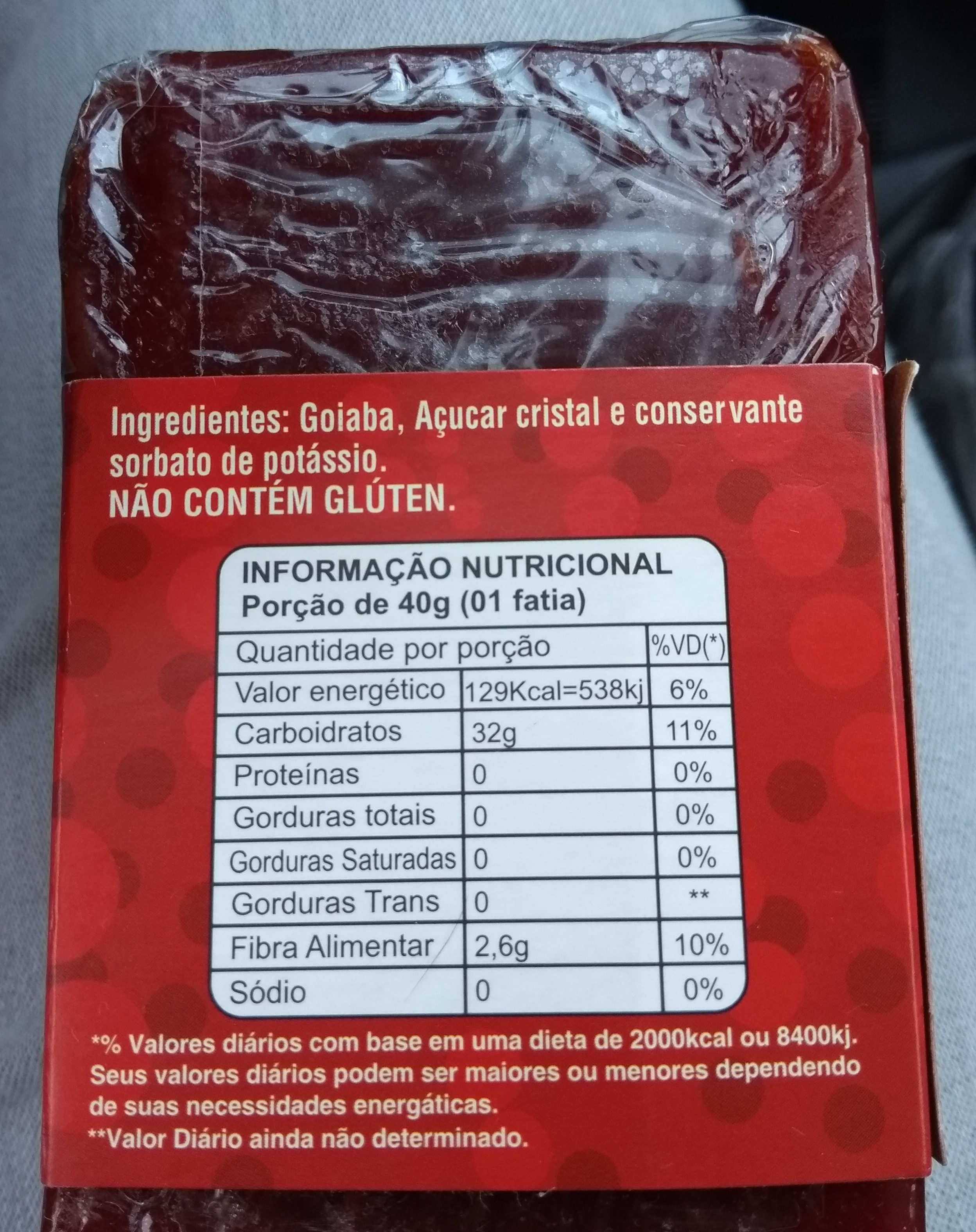goiabada cascão - Nutrition facts - pt