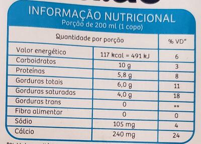 Leite UHT Integral - Informação nutricional - pt