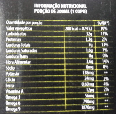 Amazoo Açaí - Informação nutricional - pt