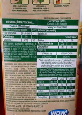 Su Gresh orange - Informação nutricional - fr