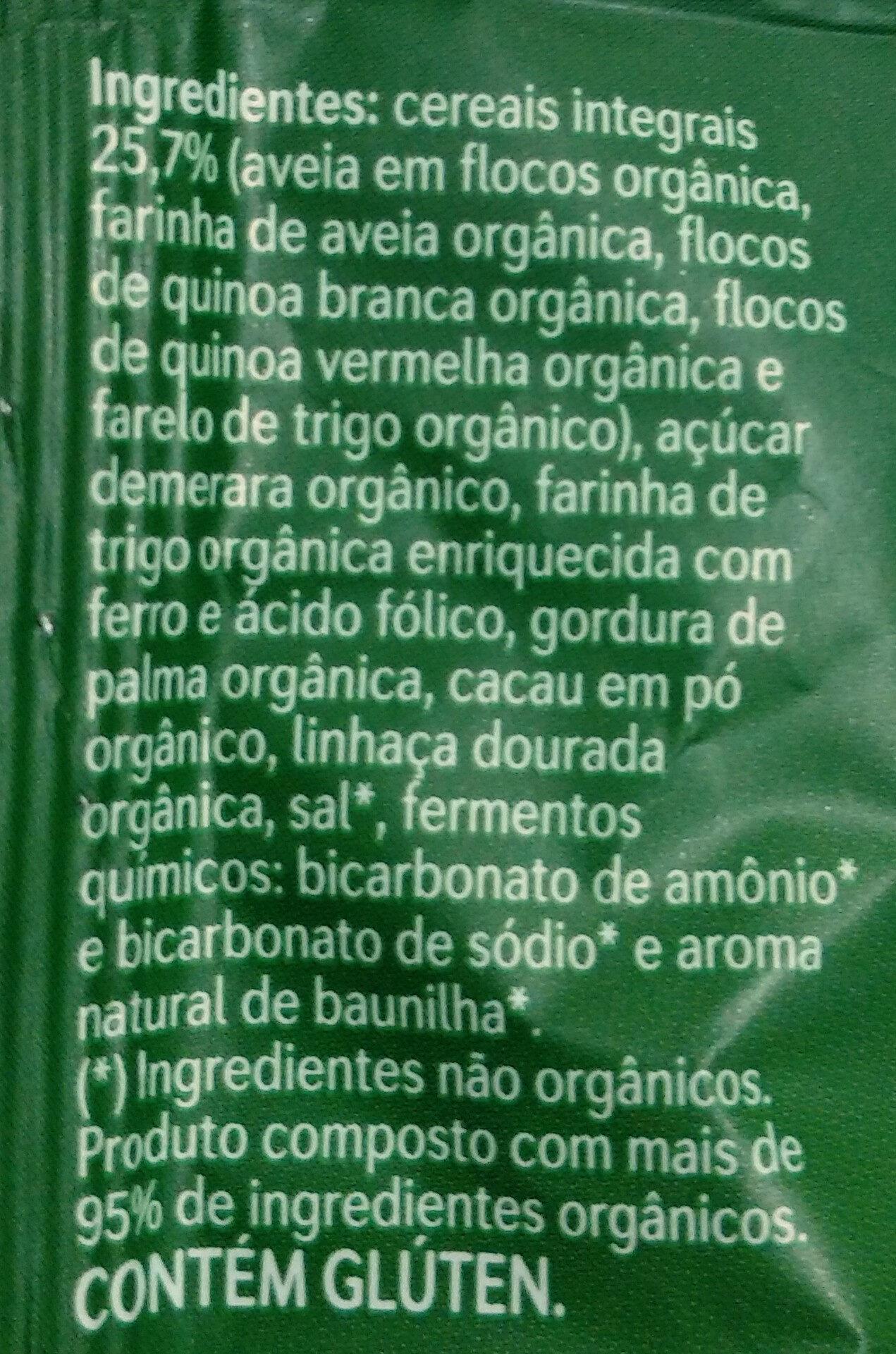 Cookies Orgânicos - Ingredientes - pt