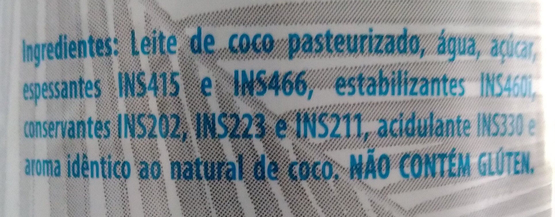 Leite de coco light - Ingredientes - pt