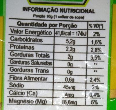 Queijo ralado vegetal - Informação nutricional - pt