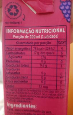 suco do bem sabor uva - Informação nutricional - pt
