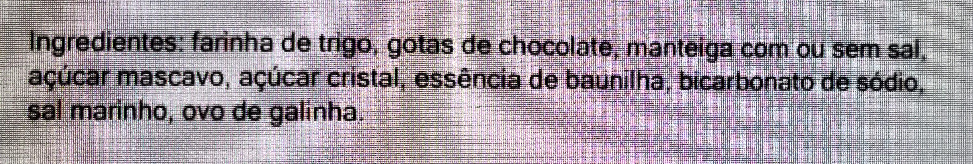 Cookie de Baunilha com gotas de chocolate - Ingredientes - pt