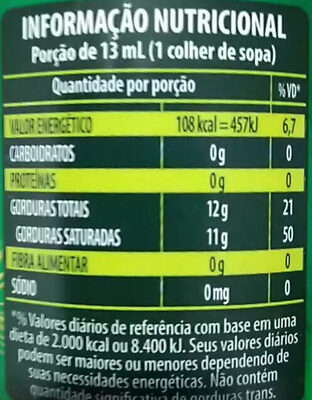 Oleo De Coco Ex. Virgem 200ML - Copra - Nutrition facts - pt