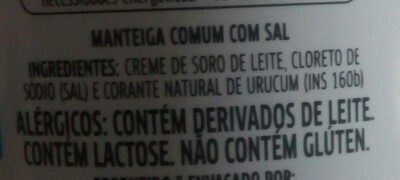 manteiga natural da vaca - Ingrédients