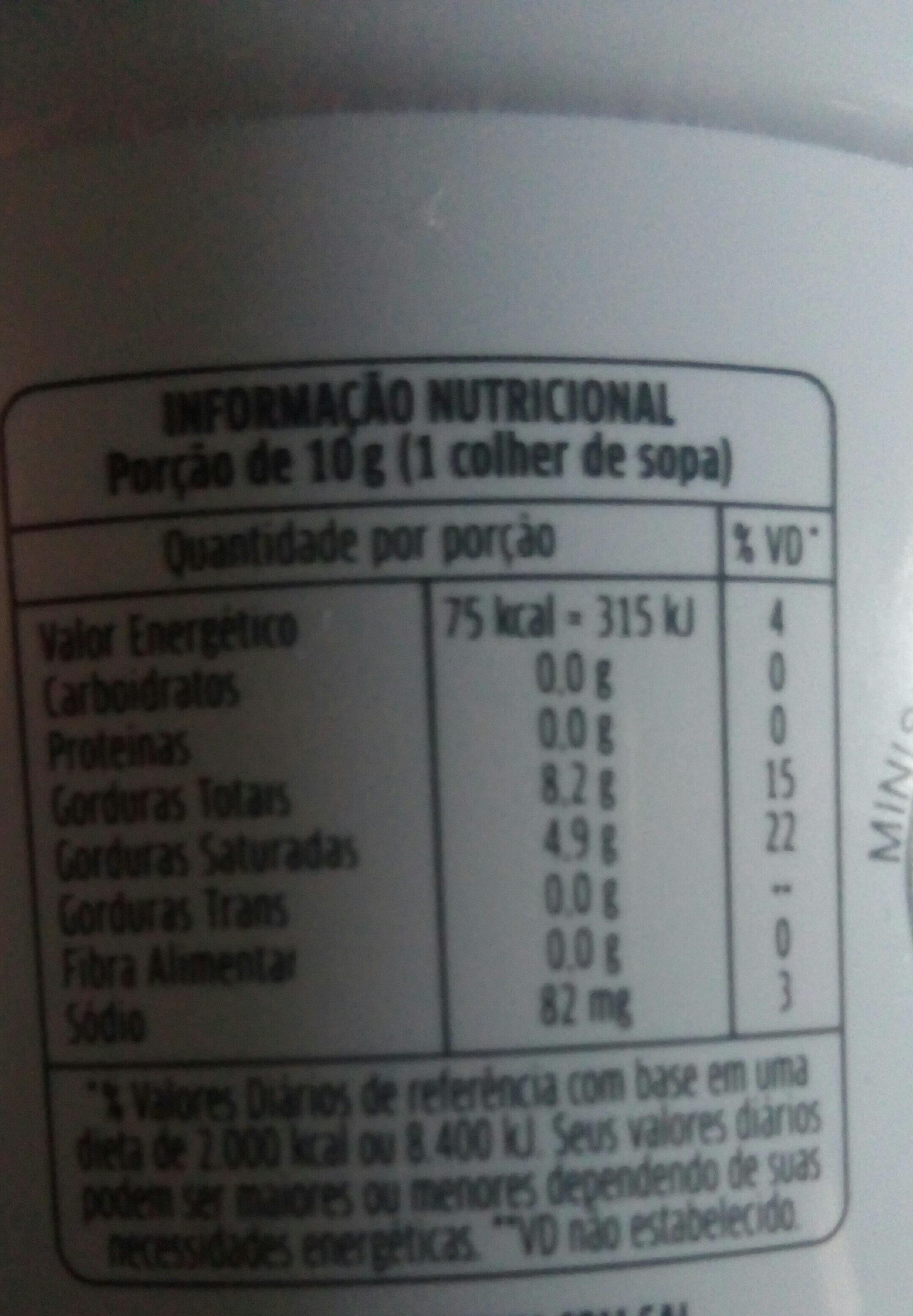 manteiga natural da vaca - Informação nutricional - pt