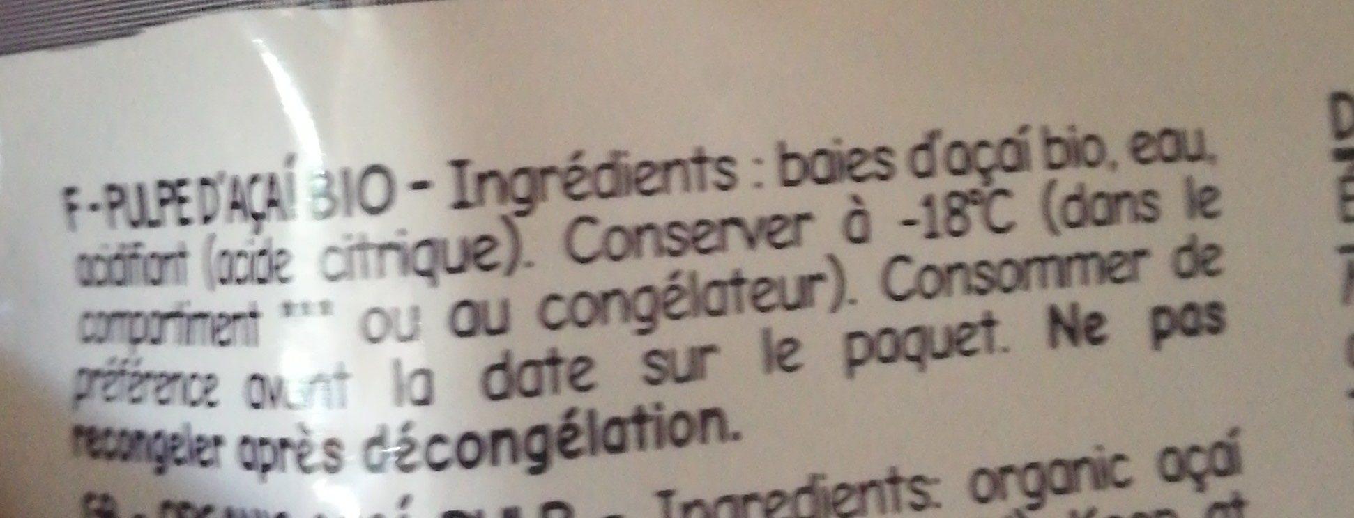Pulpe d'açaï bio - Ingredientes - fr