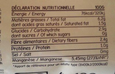 Pulpe d'açaï bio - Informação nutricional - fr