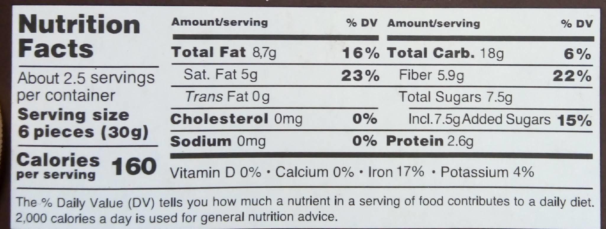 Chocolate - Informação nutricional - fr