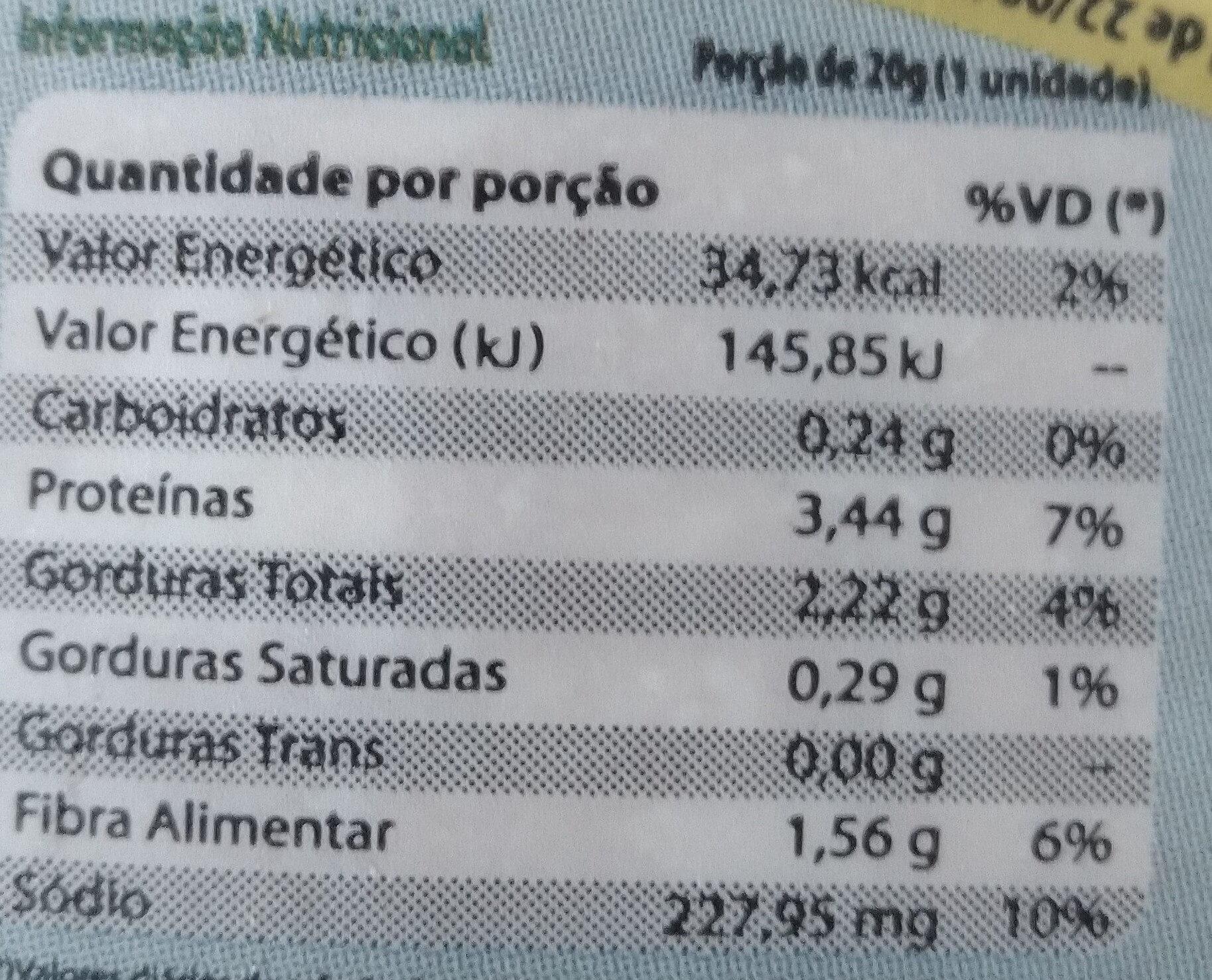 Mortadela de soja fatiada - Informação nutricional - pt