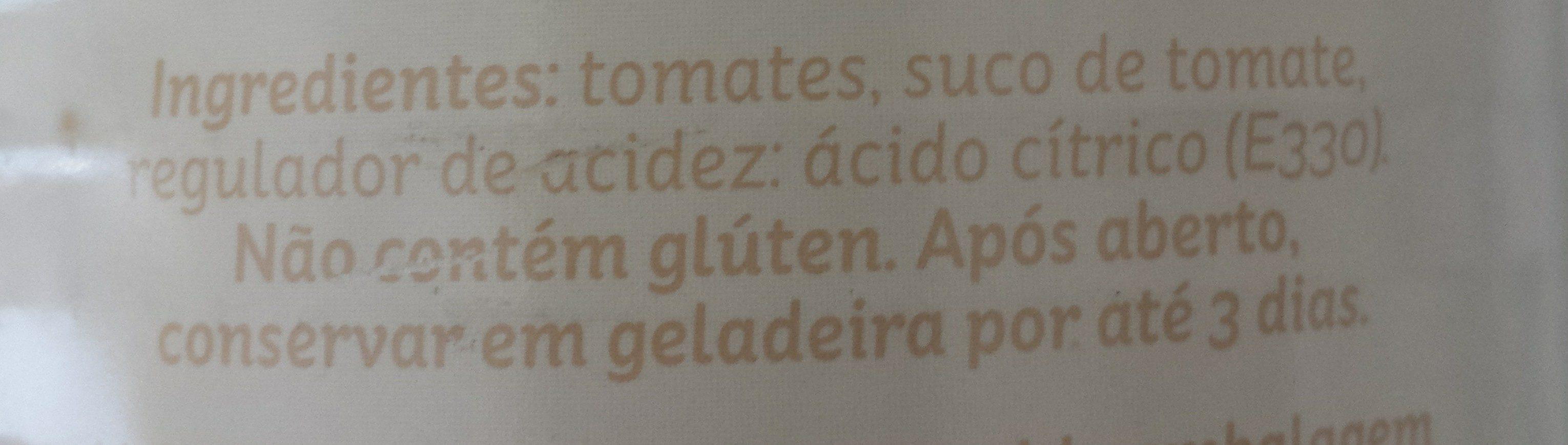 Tomate sem pele - Ingredients