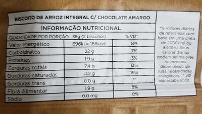 Biscoito de Arroz com Chocolate Amargo - Informação nutricional - pt