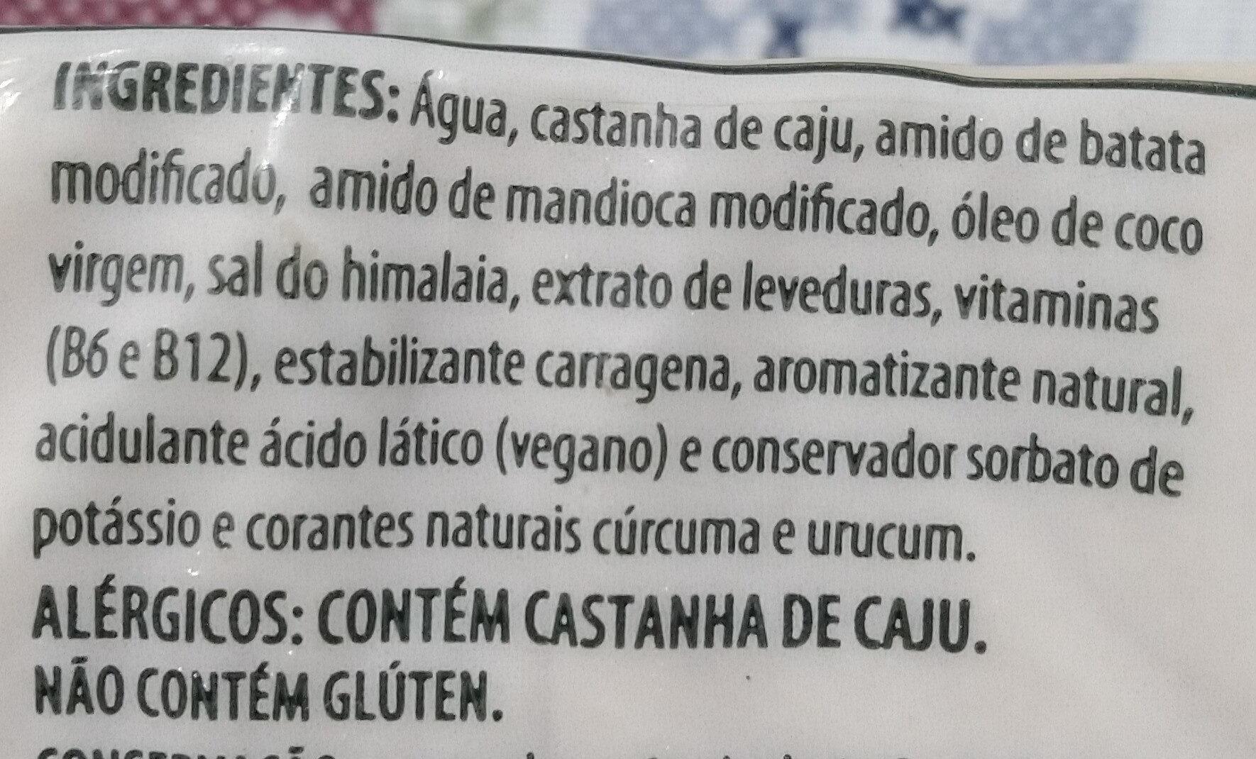 Queijoveg Muçarela Castanha de Caju - Ingredientes - pt
