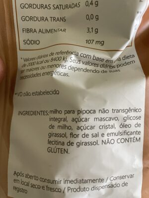 Mais pura - Ingredientes - pt