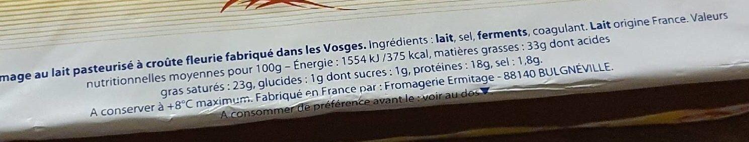 Brique de fromage - Informations nutritionnelles - fr