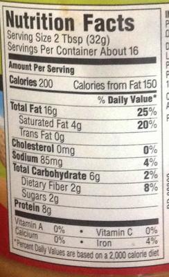 No stir Creamy Peanut Butter - Nutrition facts