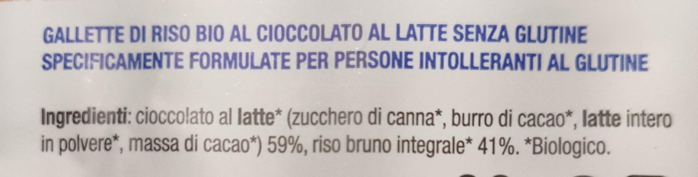 Gallette di riso al cioccolato al latte - Ingredients - it
