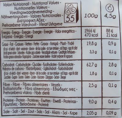 Tarallini con DEMI di FINOCCHIO - Informations nutritionnelles - fr