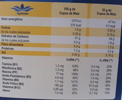 Corn flakes sin gluten - Información nutricional