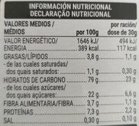 Chocodays sin gluten - Información nutricional - es