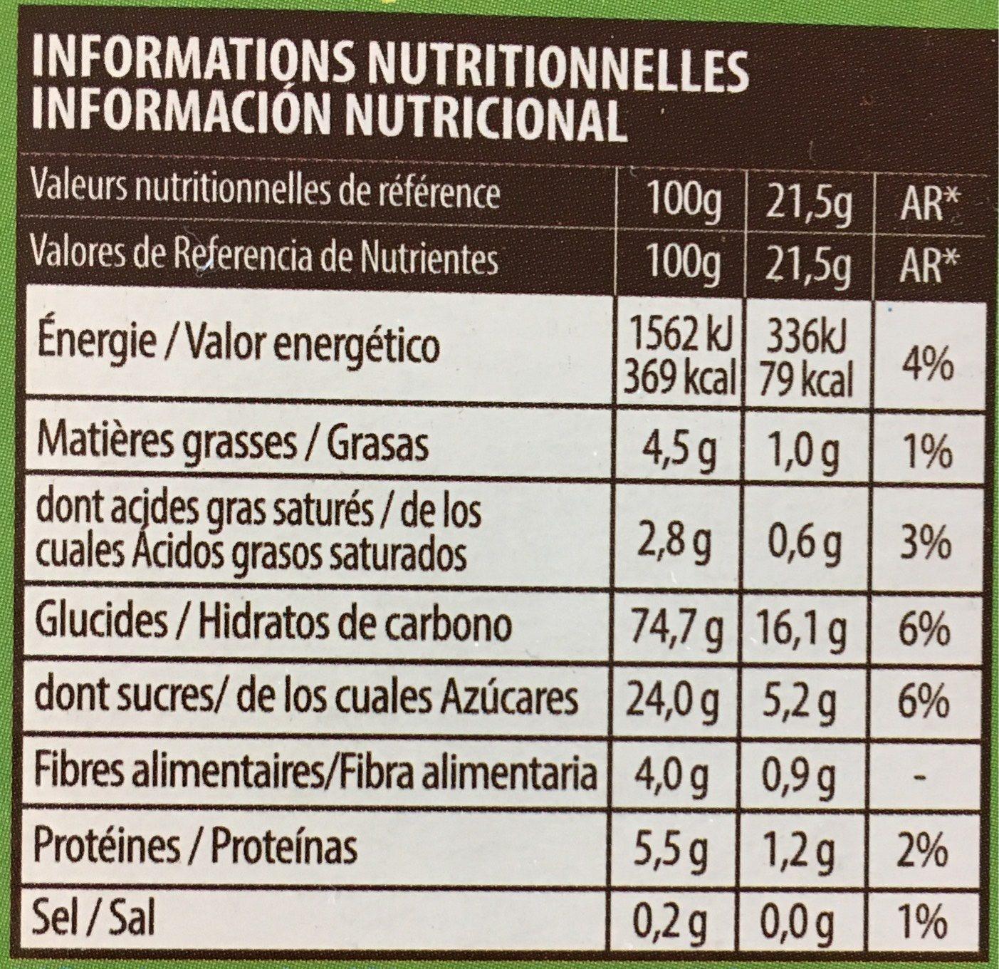 Nicoli Vitabella Multigrain Bars With Apple X6 - Informations nutritionnelles - fr
