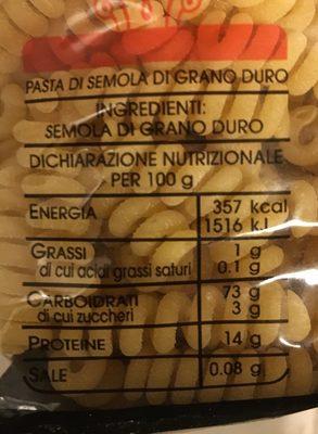 Fusilli Bucati Corti - Inhaltsstoffe