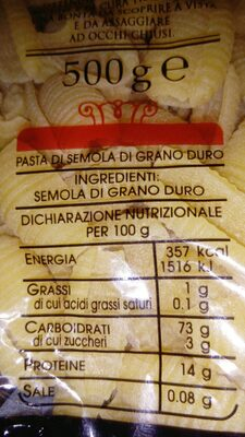 Gnocchi Sardi N36 Pasta Di Gragnano - Ingredients