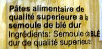 Spaghetti - Inhaltsstoffe - fr