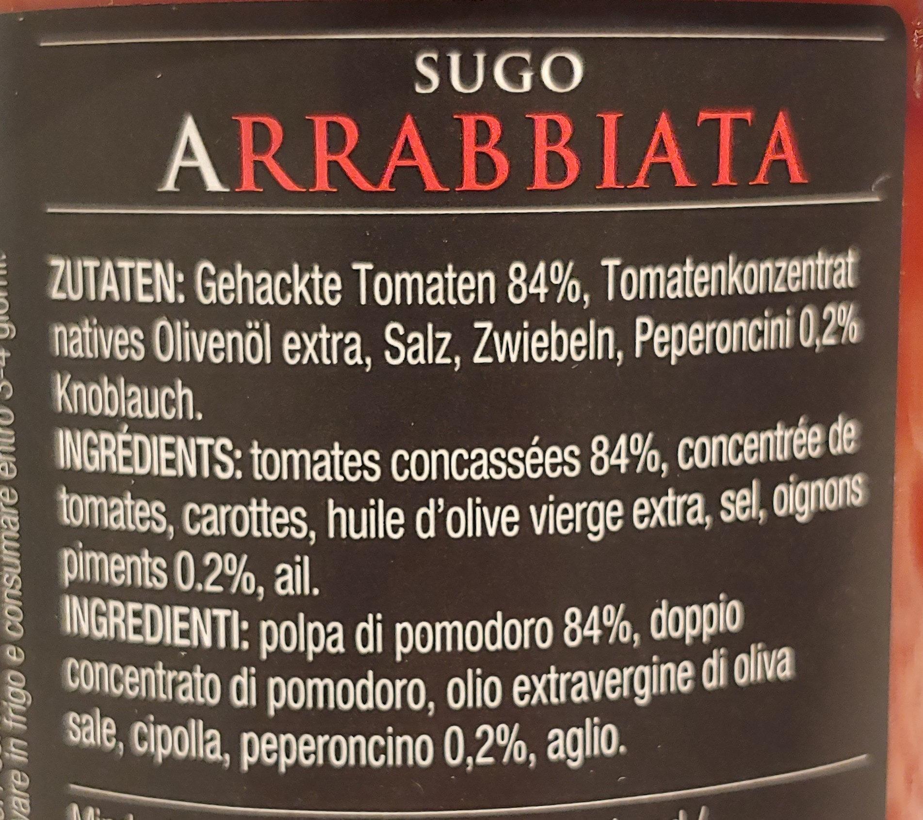Sugo Arrabbiata - Ingredienti - de
