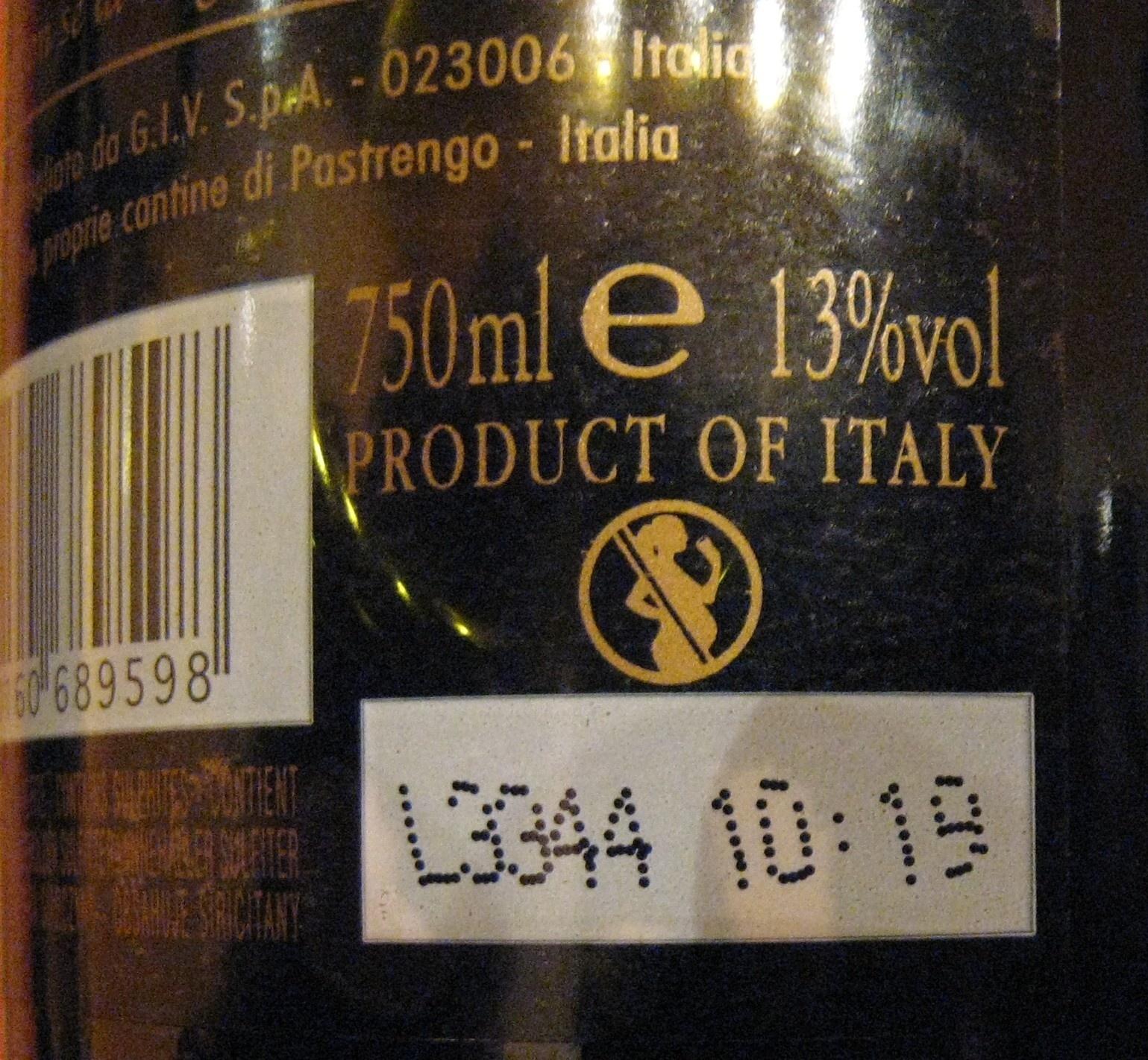 Monte Pietroso Rosso 2010 (et 2012) - Nutrition facts - it