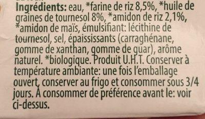 Alinor Vitariz Rice Bechamel - Ingredients - fr