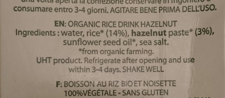 Organic Rice Drink With Hazelnut - Ingrediënten - en