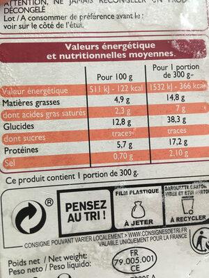 Lasagnes saumon epinards - Voedingswaarden - fr